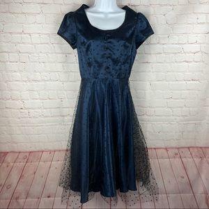 Stop Staring Navy Black PolkaDot Tulle Retro Dress